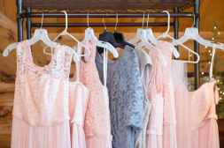 pink and grey dresses hanged